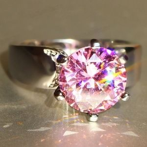 Sterling Silver Pink Zirconia Ring
